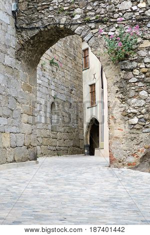 Old Arched Arch In A Medieval City In France