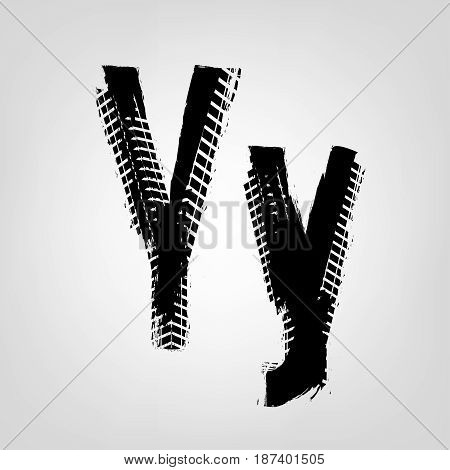 Grunge tire letter Y. Unique off road isolated lettering in a black colour. Vector illustration.