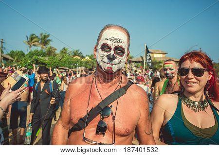 India Goa - February 21 2017 Annual Freak Carnival in Arambol