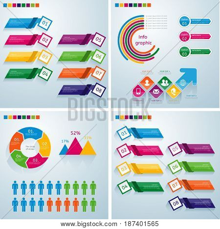Business infographic template set. Vector illustration. Can be used for workflow layout banner diagram number options web design timeline elements