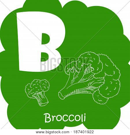 Alphabet for kids with vegetables. Healthy letter abc B-Broccoli.