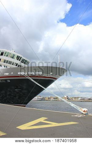 Amsterdam The Netherlands - April 27th 2017: Balmoral Fred Olsen Cruise Lines docked at Passenger Terminal Amsterdam