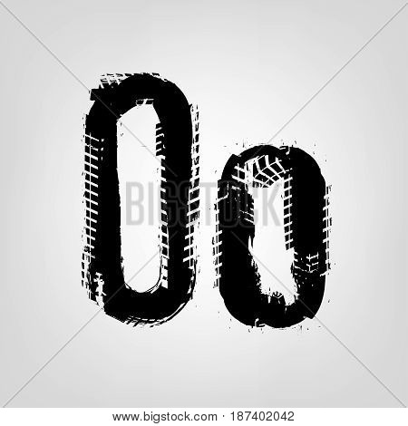 Grunge tire letter O. Unique off road isolated lettering in a black colour. Vector illustration.