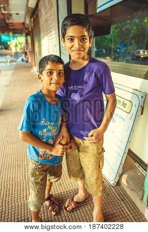 India Maharashtra Vengurla - March 20 2017 Two indian boys on the street