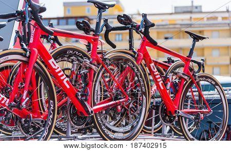 Alghero Italy - May 05 2017: BMC Racing Team bikes on 100th Giro d'Italia opening day