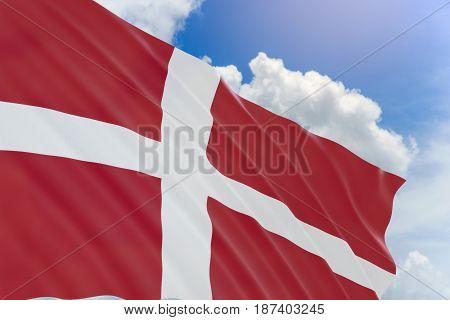 3D Rendering Of Denmark Flag Waving On Blue Sky Background