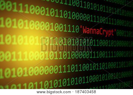 The Wannacrypt And Binary Code Concept Security And Malware Attack.