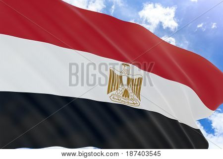 3D Rendering Of Egypt Flag Waving On Blue Sky Background