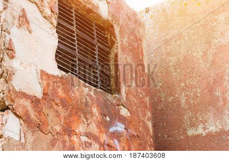 Window And Old Ventilation And Grunge Old Wall.