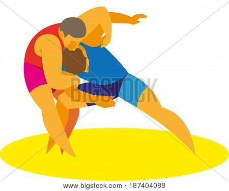 A young strong athlete is a greeko rome wrestler begin their duel
