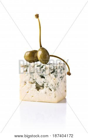 Canned Capers And  Blue Cheese On White Background