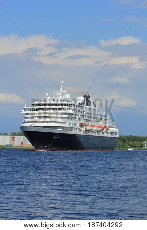 Velsen the Netherlands - May 20th 2017: MS Prinsendam sailing from Passenger Terminal Amsterdam to IJmuiden North Sea sealock