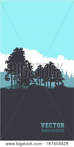 Vector illustration of a fictional landscape twilight forest edge silhouettes of trees vertical banner