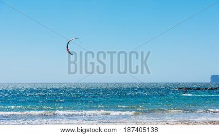 Kite surfing in Alghero in Sardinia, Italy
