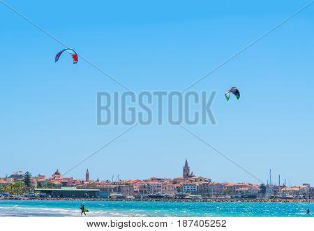 Kite surfers in Alghero in Sardinia, Italy