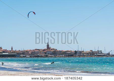 a kite surfer in Alghero in Sardinia