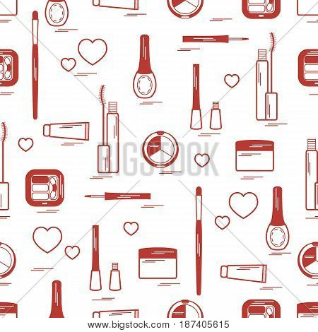 Cute Pattern Of  Various Elements Of Decorative Cosmetics And Care Products For Face And Body.