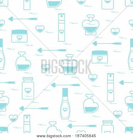 Cute Seamless Pattern With Various Accessories For The Care Of Your Body And Hair: Perfume Bottles I