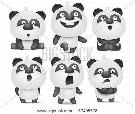 Set of cute cartoon panda characters with various emotions Vector illustration