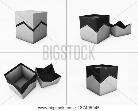 Set Of Zigzag Design Box. 3D Illustration, Isolated On White Background