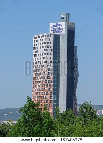 BRNO CZECH REPUBLIC - CIRCA MAY 2017: AZ tower currently the tallest building in the Czech Republic (111 m or 364 ft)