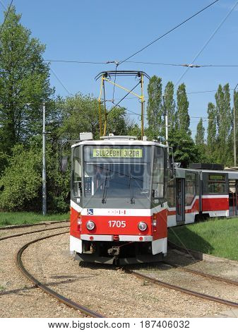 BRNO CZECH REPUBLIC - CIRCA MAY 2012: Skoda 03 T tram parked at the end of the line