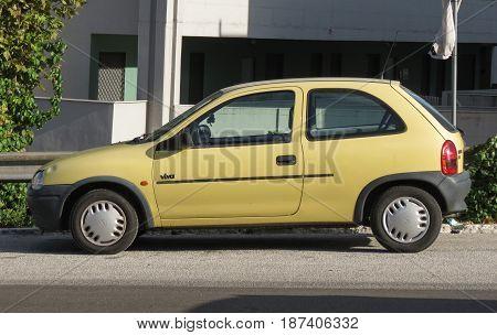 Yellow Opel Corsa Viva