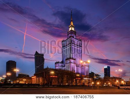Palace of Culture and Science in the evening. Poland Europe.