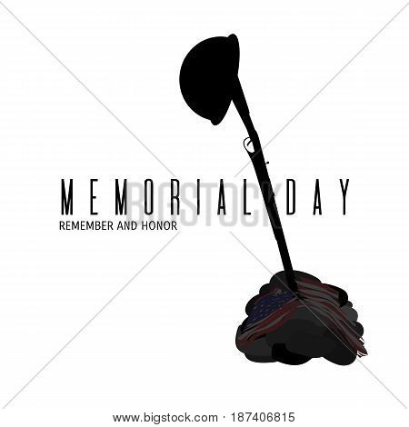 Memorial Day composition. Remembrance and honor day vector card. Military helmet on rifle silhouette plunged in the stone grave covered with American flag illustration isolated on white background