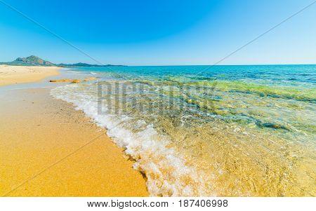 Piscina Rei shoreline in Sardinia in Italy