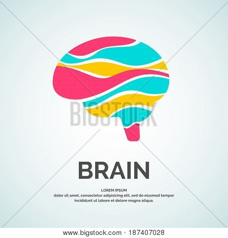 Vector logo brain color silhouette on a white background.