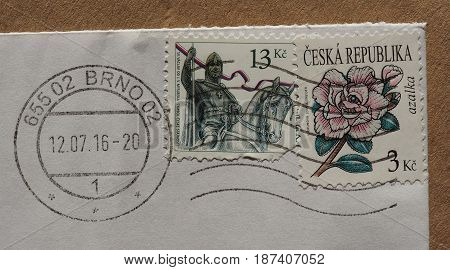 PRAGUE CZECH REPUBLIC - CIRCA JANUARY 2017: a stamp printed by Czech Republic bearing the portrait of St Vaclav king and azalea flower (azalka)