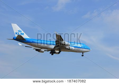 Amsterdam the Netherlands - July 21st 2016: PH-BFD KLM Royal Dutch Airlines Boeing 747-406 approaching Polderbaan runway at Schiphol Amsterdam Airport arriving from Los Angeles United States of America
