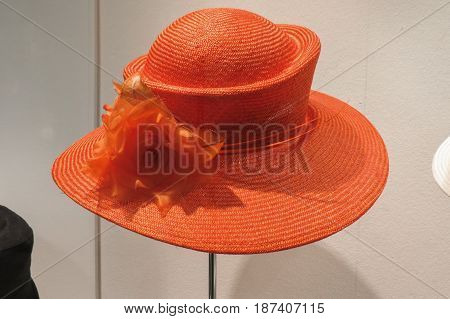 LEIPZIG GERMANY - CIRCA MARCH 2016: detail of stylish straw hat for ladies