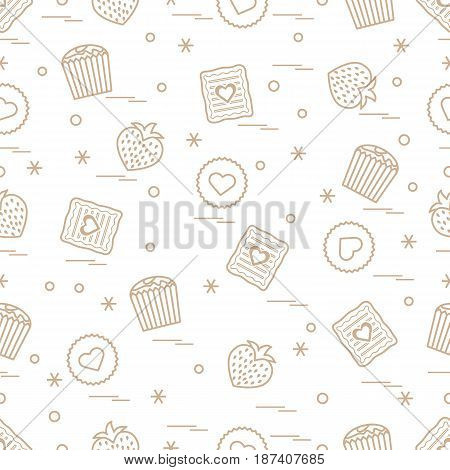 Cute Seamless Pattern With Different Romantic Sweets. Love Concept.