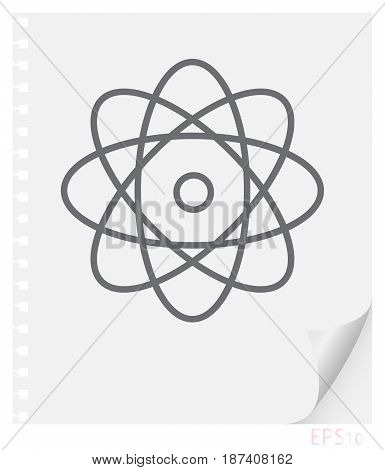 Vector linear illustration of an atom with electrons on a sheet of paper with a curved corner and holes from springs a school physical line icon.