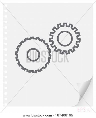 Vector linear illustration of mechanical gears on a piece of paper with a curved corner and holes from springs school line icon.