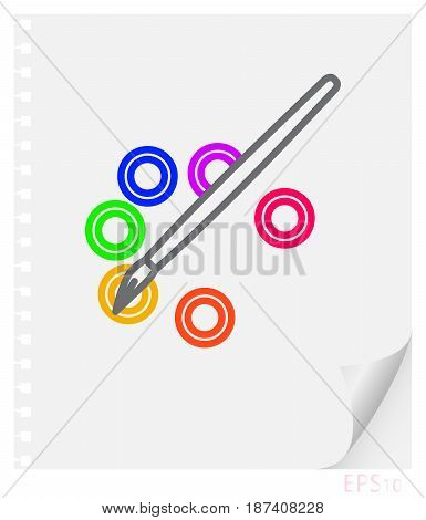 Vector linear illustration of a brush and a palette with paints on a sheet of paper with a curved corner and holes from springs a school line icon.
