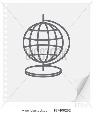 Vector linear illustration of an educational globe on a sheet of paper with a curved corner and holes from springs a school line icon.