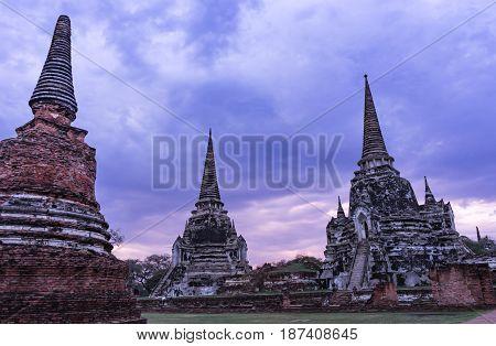 Wat Phra Si Sanphet Temple in Ayuthaya Historical Park Thailand