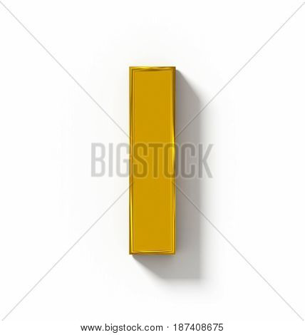 Letter I 3D Golden Isolated On White With Shadow - Orthogonal Projection