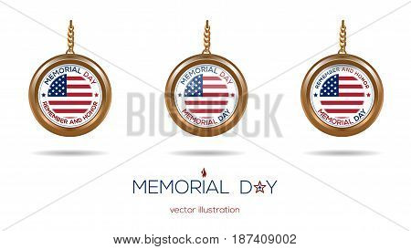 Medallions set on the chain with the US flag inside for Memorial Day. Remember and Honor. Vector illustration