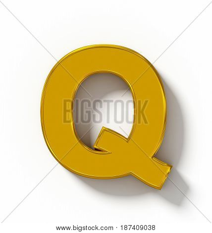 Letter Q 3D Golden Isolated On White With Shadow - Orthogonal Projection
