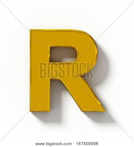 Letter R 3D Golden Isolated On White With Shadow - Orthogonal Projection