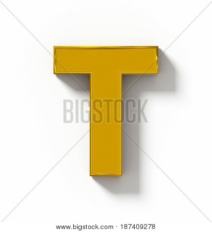 Letter T 3D Golden Isolated On White With Shadow - Orthogonal Projection