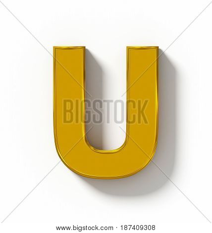 Letter U 3D Golden Isolated On White With Shadow - Orthogonal Projection