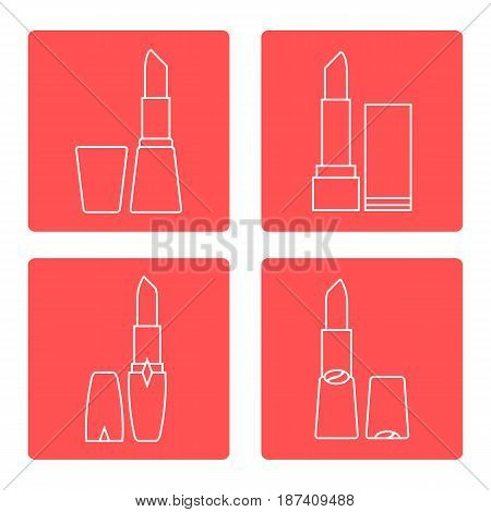 Vector Illustration With Various Tubes Of  Lipstick.
