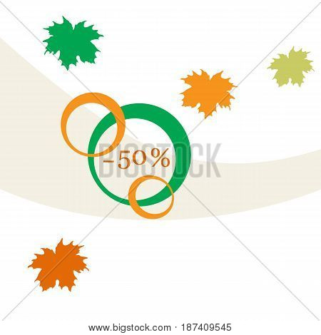 Vector  Illustration Of Various Discounts For Markets And Shops. Autumn Sale.