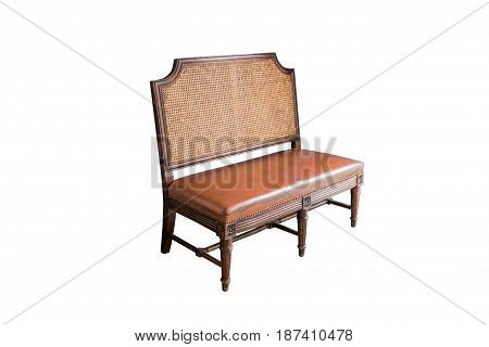 Retro bench with leather seatsisolated on white background with clipping path.