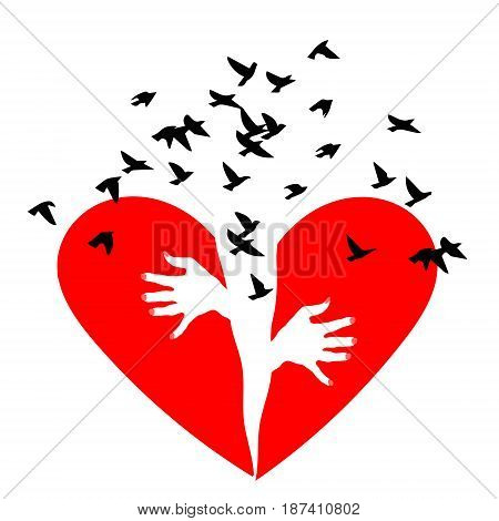 Red heartbreak. Birds fly out of a broken heart. Broken heart or divorce. Broken Heart, vector icon. Red heartbreak. Broken heart or divorce. Broken Heart vector icon